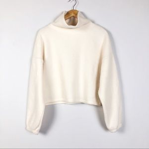Forever 21 Cropped Ivory Turtleneck Sweater